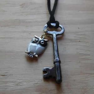 Key Necklace With Owl Charm