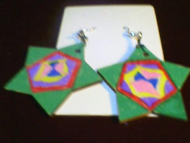 Green Star Design Homemade Hand Painted Earring