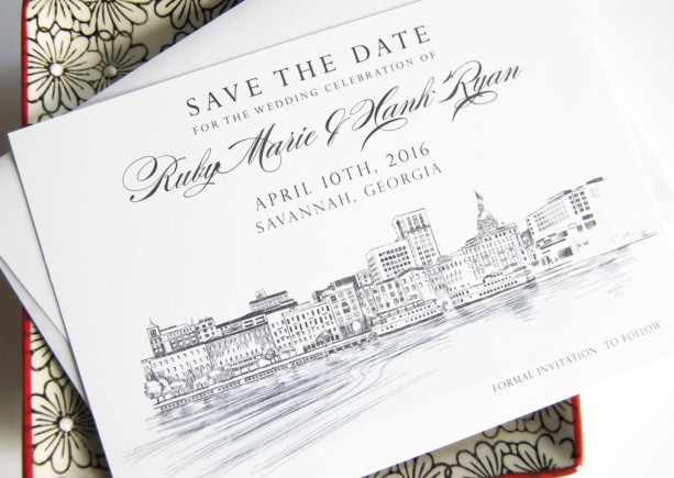 Savannah Skyline Watercolor Save the Date Cards (set of 25 cards)