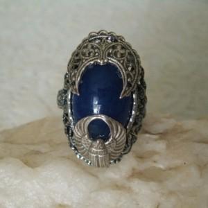 Lapis Scarab Ring, victorian edwardian art deco steampunk art nouveau gothic neo victorian bohemian