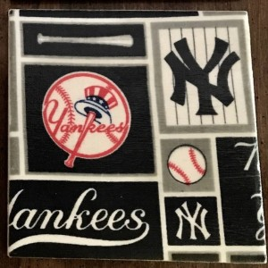 Custom Coasters-Non Stick Coasters-Personalized Coasters-Travertine Tile Coasters-Yankees Logos-Drink/Barware-Gifts-Housewarming-Drinkware