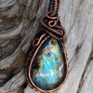 Labradorite Pendant - Wire Wraped Spectrolite Stone - Gift for Wife!