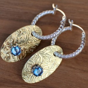 CLEARANCE PRICED! FANCY Blue Spinel HOOPLET EARRINGS