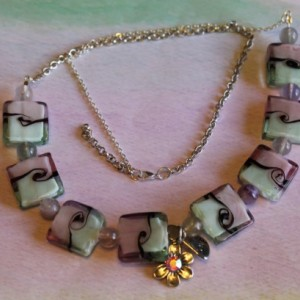 Purple Pink Sea Foam Wave Necklace