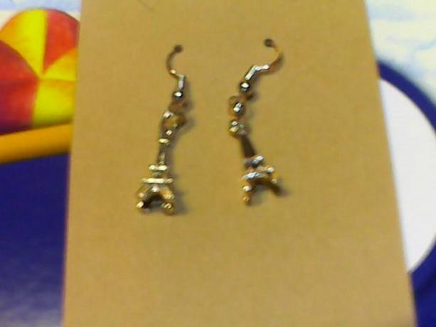 Eiffel Tower silver tone earrings.