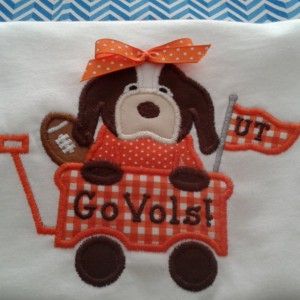 Hound Dog With Football In Wagon Appliqué Shirt or Bodysuit, Tennessee Vols Football Shirt or Bodysuit - Football Shirt