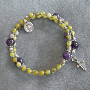 Green Nephrite and Amethyst Rosary Bracelet