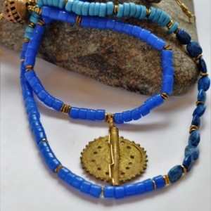 Boho necklace, African tribal necklace, African necklace, Blue necklace, Brass necklace, Statement necklace, Ethnic necklace,  Tribal bead