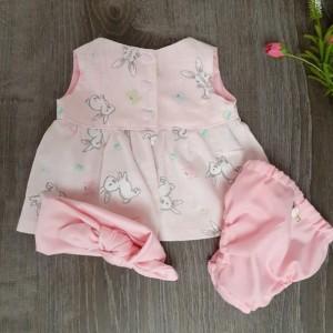 Preemie Soft Pink Dress, Diaper Cover, Pink Headband
