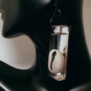 Resin Cowry Shell Earrings