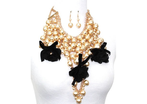 Gold Plated Metal Cream Color Pearl and Black Flower Chunky Necklace Set