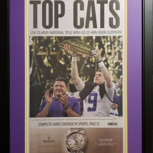 Louisiana State University 2019 National Champions News Paper Cover Custom Framed Picture