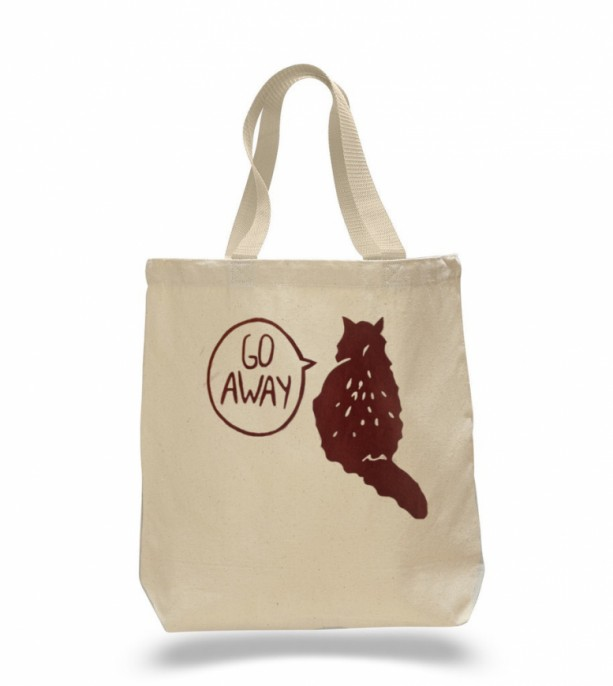 Brown cat canvas tote bag, crazy cat lady, gift for cat lover, shopping bag, reusable grocery, halloween, trick or treating, large tote