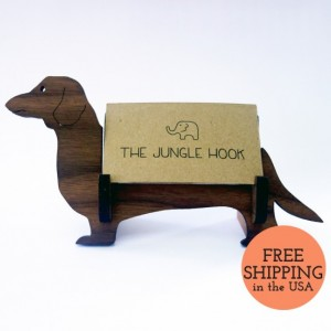 Dachshund business card holder for desk