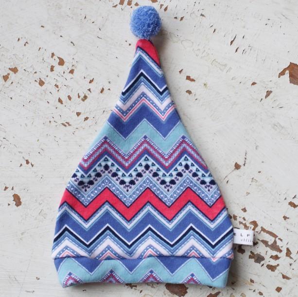 0-3 mo Elf - Hobbit - Gnome - Dwarf Hat with PomPom Tail. Newborn hat in multicolored chevron print cotton fabric.