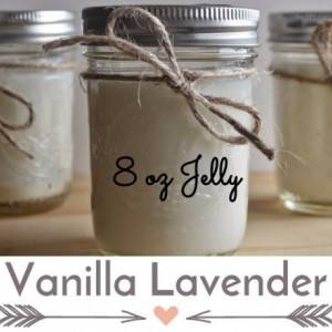 Vanilla Lavender 8 ounce  Scented Handcrafted Soy Candle Jelly Jar