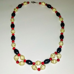 Red, Black, and Off-White Paper Bead Choker