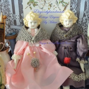 China Doll Shawl  Hand Knit Tasha Tudor style Wool Doll Shawl