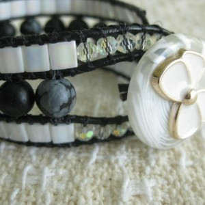 Leather beaded cuff bracelet in black and white Wrap bracelet, designer look