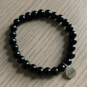 Men's stretch black glass beaded bracelet 7-8mm