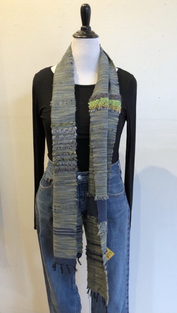 Handwoven Grey Wool Scarf