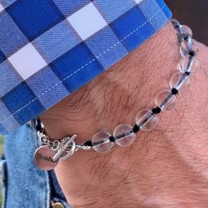 Men's clear handmade glass beaded bracelet 7-8mm