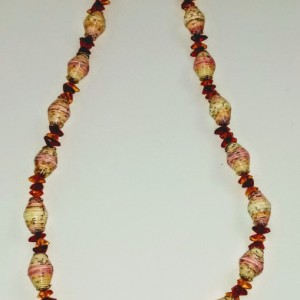 Fiery Paper Bead Necklace