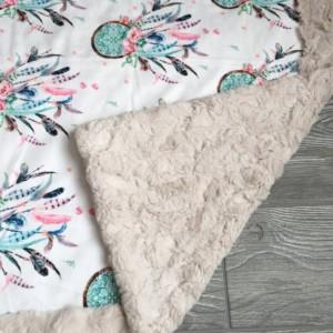 Dreamcatcher Minky Baby Blanket Boho Flower Girl
