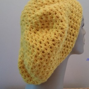 Slouchy Beanie Hat Yellow Crocheted Unisex