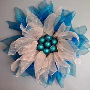 Winter Snow Flower Deco Mesh Wreath