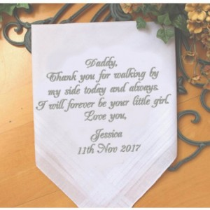 Embroidered Father of the Bride Handkerchief, Customized personalised personalized Hankies Wedding Gift
