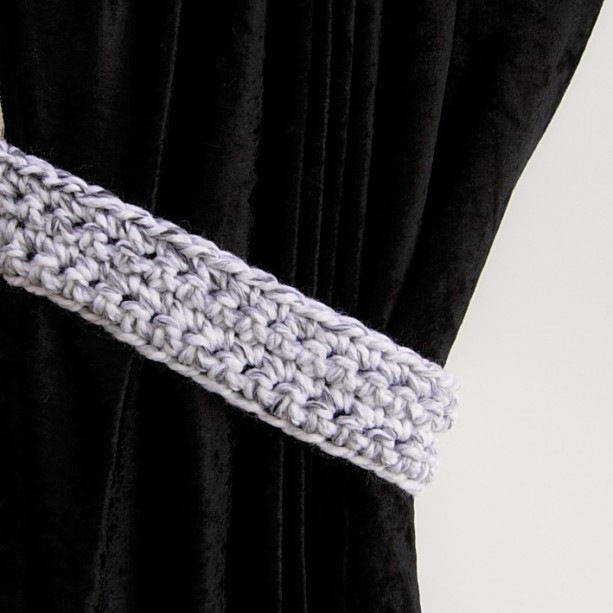 One Pair of Black, White & Light Gray Curtain Tiebacks, Marbled Tie Backs Set, Thick Drapery Holders, Crochet Knit, Simple Modern Holdbacks
