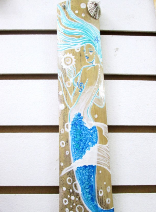 Blue Fantasy Mermaid art  original hand painted on drift wood art - bathroom decor- mermaids