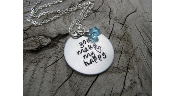 "Inspiration Necklace- ""you make my (heart)  happy"" with an accent bead in your choice of colors- Hand-Stamped Jewelry"
