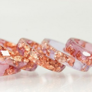 Resin Ring - Raspberry Plum Faceted Eco Resin Ring with Copper Flakes