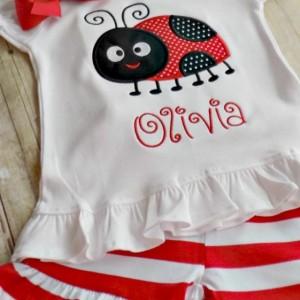 Girls Ladybug shirt, Ladybug Shirt for Toddlers, Infants Ladybug Shirt with Shorts, Hearts,Personalized, Embroidered, Appliqued