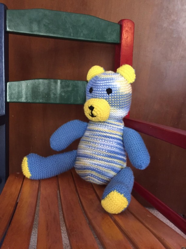 Knitted Teddy Bear Blue and Yellow RTS by Give A Yarn Crafts