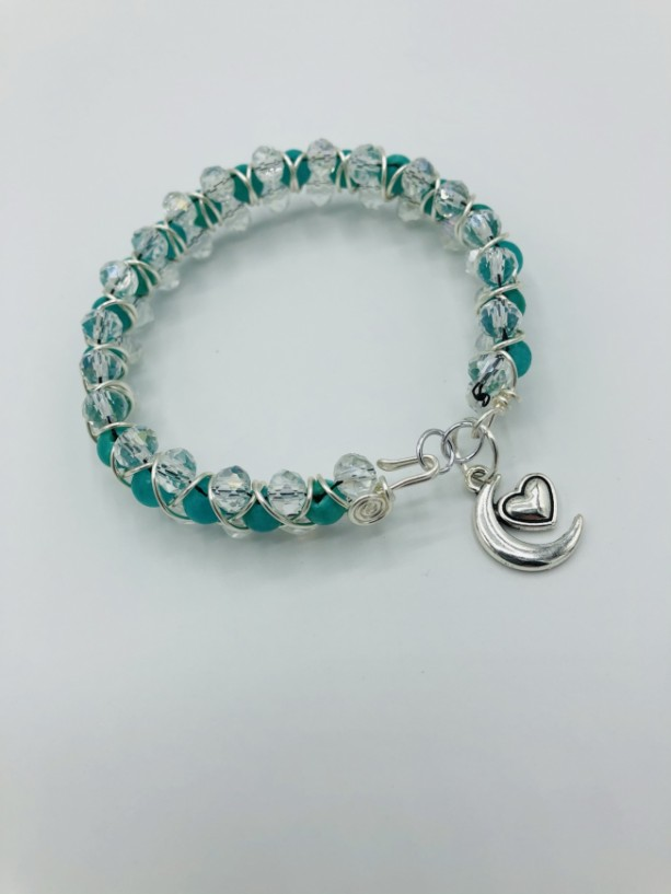 """7 1/2"""" Woven and Wire Wrapped Bracelet"""