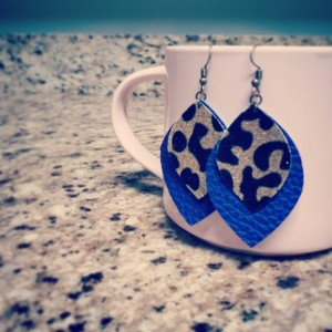 Glitter Leopard Faux Leather Earrings