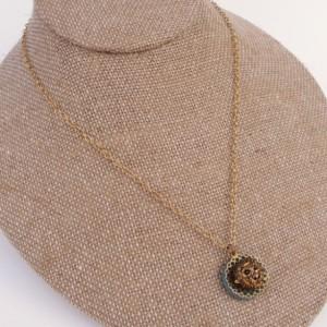Little Brass Lion Button Necklace