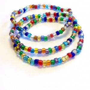 Multicolor Seed Bead Bracelets, Set of 3 Colorful Stackable Stretch Bracelet, Handmade Boho Bracelets, Bright Hippie Seed Bead Bracelet, Gift for Her