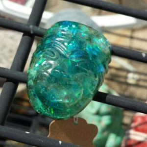 Big Flashy Blue And Black Dichroic Resin Glow In The Dark Ring