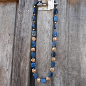 Necklace -  Royal Blue Howlite with Antique styled Gold Beads