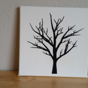 Screenprinted black tree on white textured fabric canvas wall art - authentic handmade - Black and White