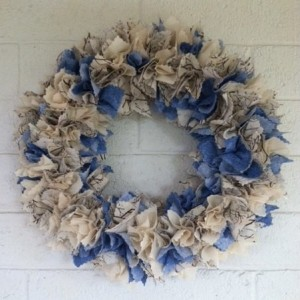 Winter Fabric Wreath, Winter Front Door Wreath, Blue Wreath, Winter Fireplace Wreath, Holiday Door Wreath