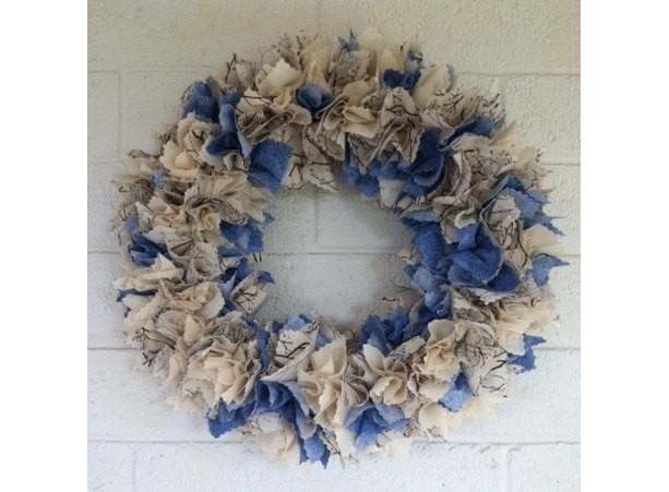 Winter Fabric Wreath Front Door Blue Fireplace