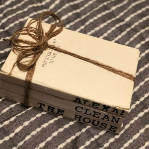 """Hand Stamped, Stacked Books """"Alexa! Clean the House"""""""