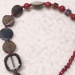 "Raspberry & Chocolate handmade beaded necklace 22"" long"