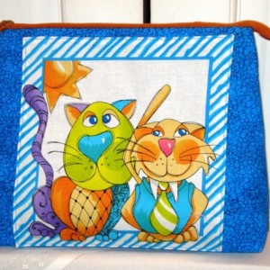 "Loralie Designs Blue ""Happy Cat""  Cosmetic Bag, Bridesmaid Gift, Holiday Gift, Gift, Toiletry Bag, Pencil Case, Travel Bag"