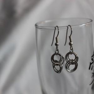 Chain Maille Earrings, Chain Mail Earrings, Aluminum Earrings, Interlocking Circle Earrings, Loop Earrings, Dangle Earrings